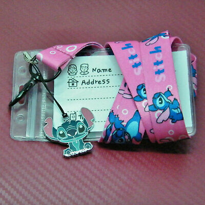 Disney Inspired Stitch type Character + Safety Lanyard Strap ID Holder & Charm
