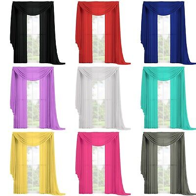 3 PC Complete Set 2 Panels and 1 Scarf Fully Stitched Sheer Window Curtain Drape