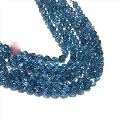 Faceted Blue Crystal Loose Beads Making Jewelry 15 inches Stone Lots Gemstone