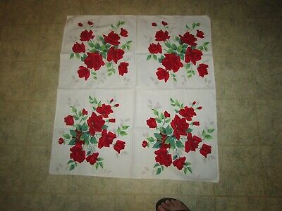 Vintage Genuine Wilendure Tablecloth Cotton Red Roses Green Leaves Floral  white