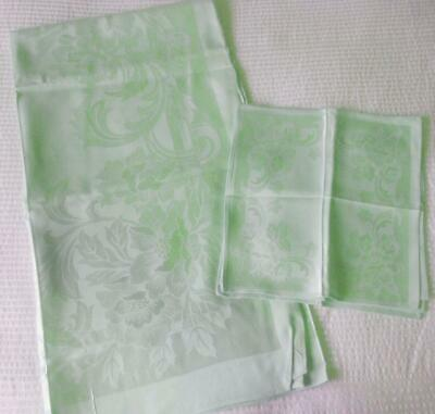 Unused Vintage 1960'S Pastel Green Silky Rayon Damask Table Cloth & 4 Napkins
