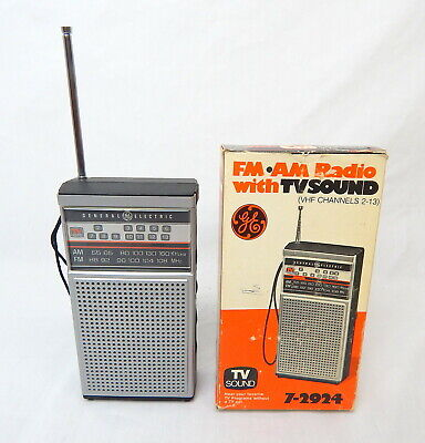 1N Vintage GE FM AM Radio w/ TV Sound w/ Box 7-2924A w/ Antenna WORKING!