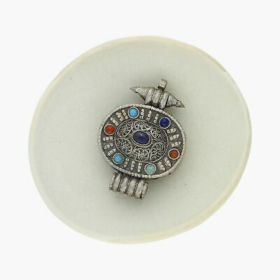vintage / sterling silver tibetan turquoise coral lapis (opens) / pendant (24g)
