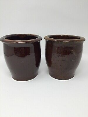 Antique Glazed Red Ware Crocks Stoneware Pottery 5 1/2 Inches Tall Collectibles