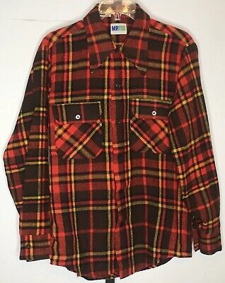 """Vintage Mr Dee Cee Wool Blend Flannel Shirt Mens 40"""" Chest x 27"""" L Fall Colors"""