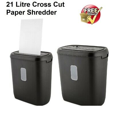21L Paper Shredder Document Credit Card Cross Cut Shredding Home Office Secure
