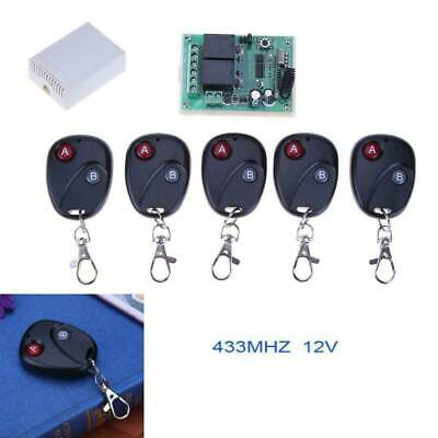 433MHZ 2 Relay Wireless Remote Control Switch Receiver Transmitter+5pcs Keys ABS