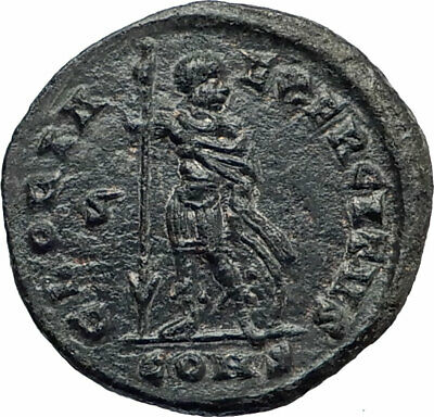 CONSTANTINE I the GREAT Authentic Ancient 327AD Roman Coin w SOLDIER RARE i80387