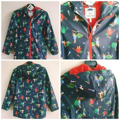 Joules Girls Peter Rabbit Navy Blue Lined Hooded Raincoat ~ Age 11-12 Years Bnwt