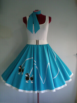 "ROCK N ROLL/ROCKABILLY  ""POODLE"" SKIRT-SCARF S-M Turquoise."
