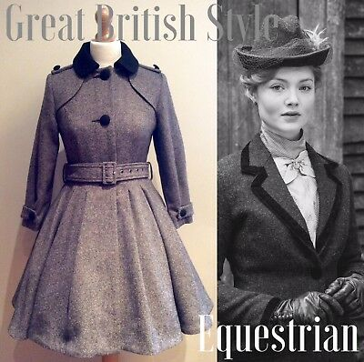 TOP SHOP VICTORIAN RIDING COAT SIZE 12 UK 8US GREY TWEED WOOL EQUESTRIAN 40s 50s
