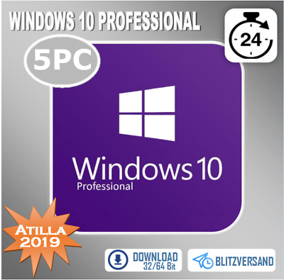 Windows 7/8.1/10 Pro 1/5PC -Professional- 32&64 Bit - ESD - Produktkey per Email