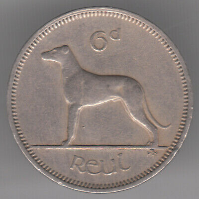 Ireland 6d Sixpence 1963 Copper-nickel Coin - Irish Wolfhound