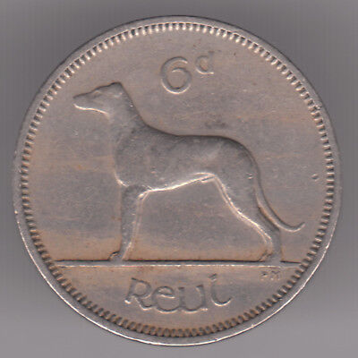 Ireland 6d Sixpence 1962 Copper-nickel Coin - Irish Wolfhound