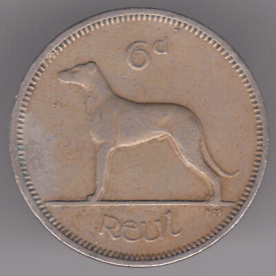 Ireland 6d Sixpence 1959 Copper-nickel Coin - Irish Wolfhound