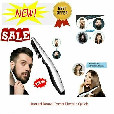 Men Quick Hair Styling Comb Electric Heating Hair Straightener Brush Beard S4