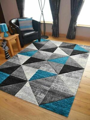 Modern Rugs Mats Grey Teal Ex Large Small Triangle Clearance Thick Big Carpet