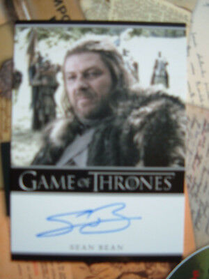 Game of thrones season 1 Sean Bean as Lord Eddard Stark Autograph auto Bordered