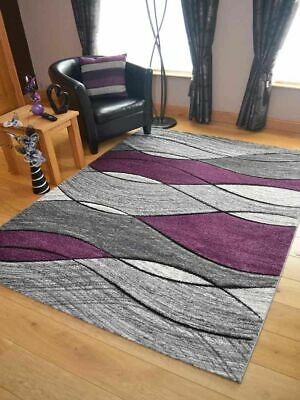 Modern Rugs Mats Grey Purple Large Small Waves Clearance Thick Big Huge Carpet