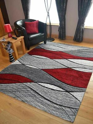 Modern Rugs Mats Grey Red Ex Large Small Wave Clearance Thick Big Carpet New