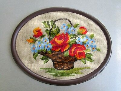 Completed Framed Tapestry Of A Basket Of Flowers