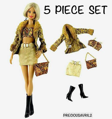 Brand New Barbie doll clothes 5 piece outfit jacket skirt top handbag boots.