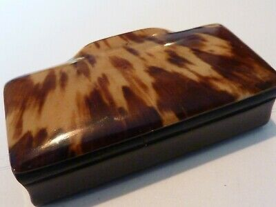 "Antique/Victorian "" Faux "" Tortoise shell + Bovine Horn Snuff box"