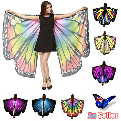 Butterfly Wings Fairy Costume Adults Outdoor Nymph Shawl Scarf Fancy Dress AU