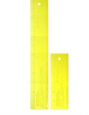 """ADD-A-QUARTER PLUS x2 RULERS - YELLOW 2""""x 6"""" & 2"""" x 12"""" PATCHWORK QUILTING"""