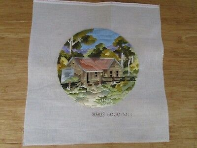 Completed Long Stitch Of Logger's Cottage 28Cms Round