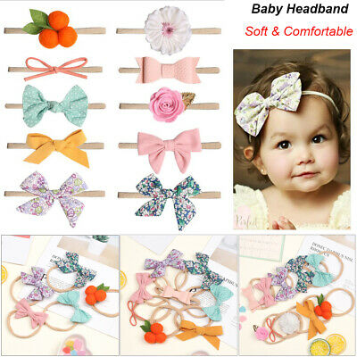 Soft Baby Girl's Flower Headband Hair Bows Elastic Nylon Hair Band Gift