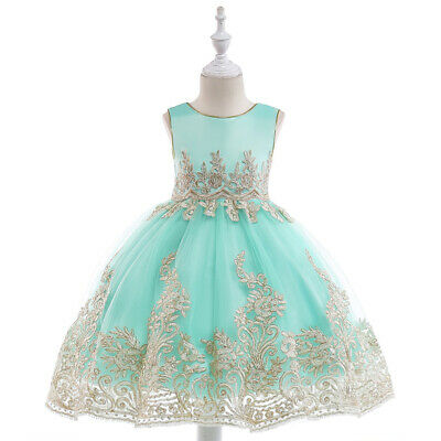 Children Girls Embroidery Flower Mesh Princess Pageant Dresses Party Costumes