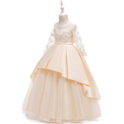 Princess Girls Long Lace Party Formal Stain Dress Host Costumes Evening Dresses