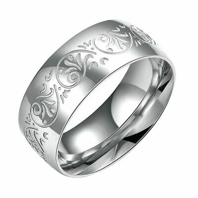 8mm Engagement 316L Stainless Steel Wedding Jewelry Flower Pattern Band Ring