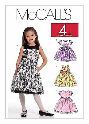 McCall's Sewing Pattern 5793 Girls Childs Sz 2-5 Easy Dresses Pinafore 4 Styles