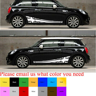 Decal Sticker Lower Side Door Stripe Graphics Union Jack for Mini Cooper S Hatch