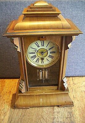 Antique 19th Century HAC Walnut Cased Mantel Clock with Twin Barrel Pendulum-Key