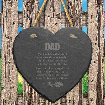 Slate Stone Heart Engraved Memorial Plaque Remembrance Grave Marker Keepsake
