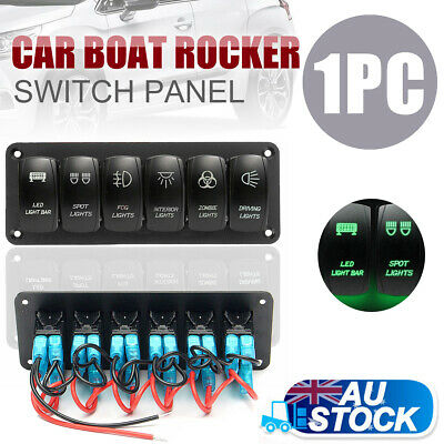6 Gang ON-OFF Toggle Switch Panel 12V-24V For Car Boat Marine RV Truck Camper AU