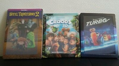 Lot Les Croods 3D - Turbo 3D - Transylvania 2 [Combo Blu-ray - STEELBOOK]