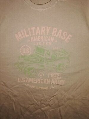 T  SHIRT beige US MILITARY BASE AMERICAN LEGEND 1942 JEEP  tailles S à XXL tee