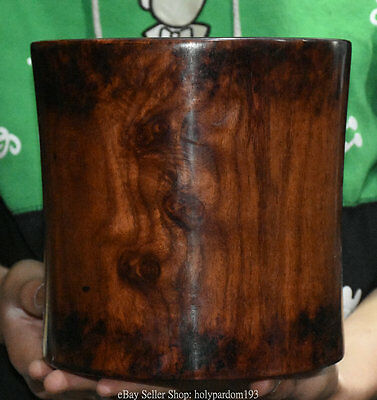"""7.2""""Collect Chinese Dynasty Huanghuali Wood Carved Pattern Brush Pot Pencil Vase"""