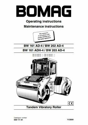 PDF Download Bomag Manual Tandem Vibratory Roller BW 161 202 203 Operation