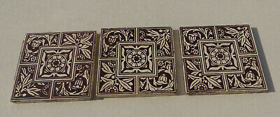 """Set of 3 Craven Dunnill Jackfield Aesthetic Tiles, Brown on Cream Stencil 6x6"""""""
