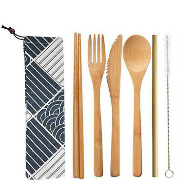 Bamboo Cutlery 7 Piece Set   Eco Friendly   Bamboo Camping Set   Travel Cutlery