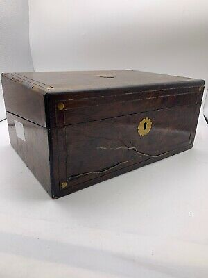Antique Victorian Walnut Brass Bound Writing Slope Box with Key, Inkwel, Nibs