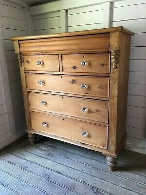 Large Tall Imposing Antique Victorian Pine Chest of Drawers (Delivery is Extra)