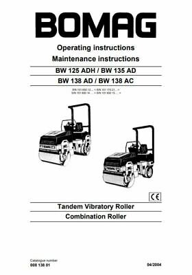 PDF Digital Downoad Bomag Operating Maintenance Instructions BW 125 135 138