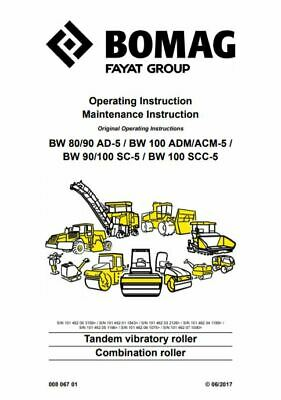 PDF Digital Download Bomag Operating & Maintenance Instructions BW 80 90 100