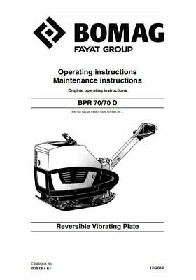 PDF Digital Download Bomag Operating Maintenance Instructions Manual BPR 70/70 D
